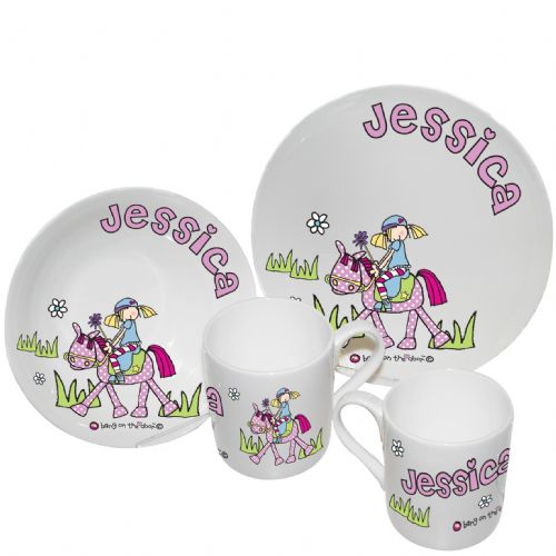 Personalised Bang on the Door Pony Girls Breakfast Set